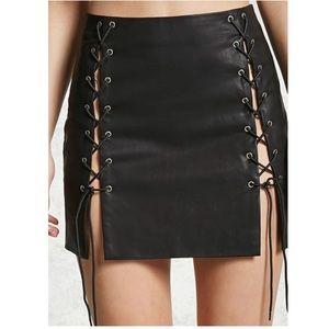 NWOT Forever 21 Faux Leather Split Skirt